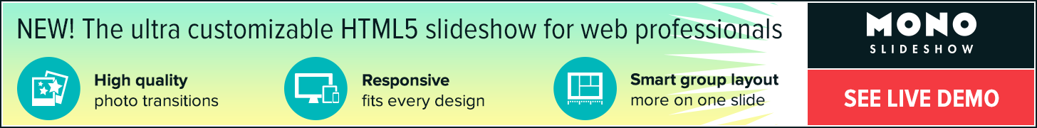 Monoslideshow — the ultra customizable HTML5 slideshow for web professionals